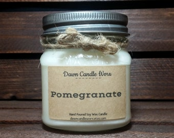 8oz Homemade Candles - Mason Jar Candles - Realtor Gift - Soy Candles Handmade - Rustic Candles - Scented Candles -  Pomegranate
