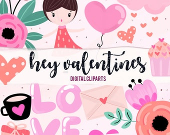 Hey Valentines Digital Cliparts
