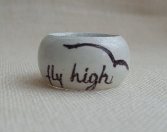 Wood ring for women, White wood ring, Hand painted ring, Unique wood ring, Gift for her