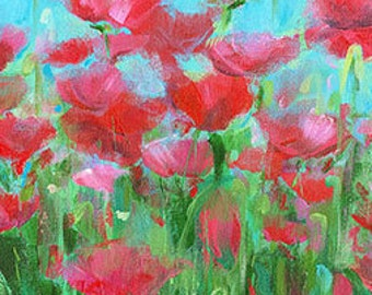 Morning Poppies: Fine art giclee poppy print from original acrylic poppy painting