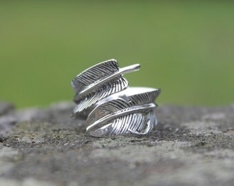 Silver feather ring Bohemian silver ring Feather silver ring Hippie ring Sterling silver ring 925 silver ring Gift for her Mother's day gift