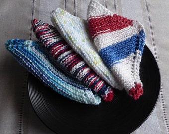 Blue cotton dish cloths, 100% cotton knit dish cloths,  cotton knit bath cloths, buy 6 get 7
