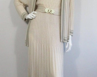 1970s TRICOVILLE KNITTED Cream & Olive Dress and Jacket- UK 14