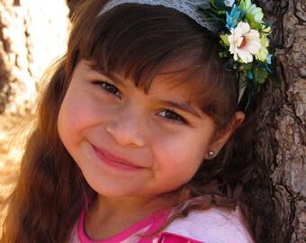 Green Blue Flower Headband Baby - Toddler Girl Headbands, Flower Girl Headband, Headband Girls, Flower Boho Crowns, Headbands Toddler Girl