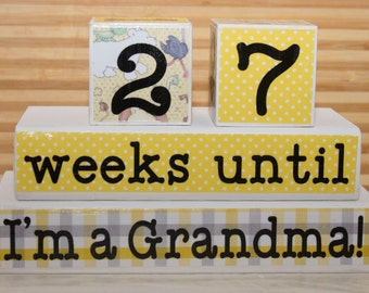 Grandma/Baby Countdown Blocks - personalize with your colors, saying, name