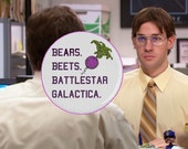 Bears, Beets, Battlestar Galactica, Jim Halpert Magnet, Dwight Schrute, The Office Quotes, The Office Magnets, Refrigerator Magnets, Funny
