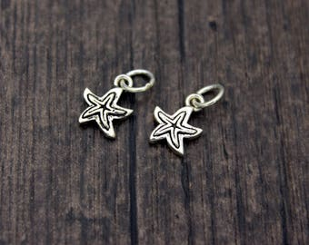 2 Sterling silver starfish charms