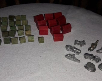 Monopoly Houses Hotels and Metal Game Pieces Vintage