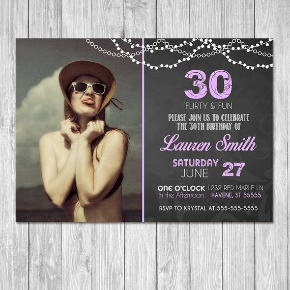 30th Birthday Invitation Chalkboard Purple Invite - Photo Invite - Chalkboard Birthday Invitation - 30th Birthday Party - ANY AGE