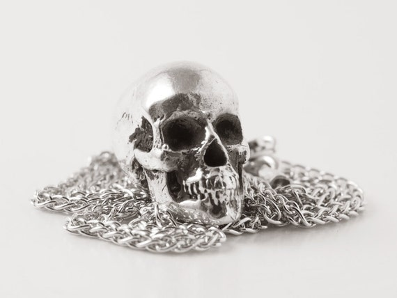 Skull Pendant SMALL - (made in ITALY, Sterling Silver 925)