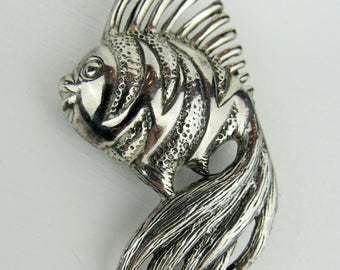 """Vintage Sterling Silver Fish Brooch Pin~Large Retro Tropical Fish Pin~Estate Jewelry~2 1/2"""" x 1 3/8"""""""