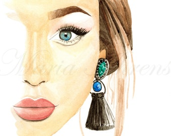 Fashion Portrait Watercolor Print, Giclee Print, Fashion Print, Fashion Illustration, Wall Art, 8x10 Art Print, Decor