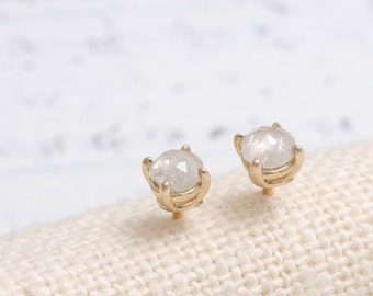0.2ct Rose Cut Natural Gray Diamond Prong Setting Solid Gold Stud Post Earrings