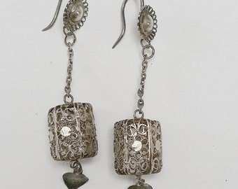Antique Chinese Export drop silver earrings