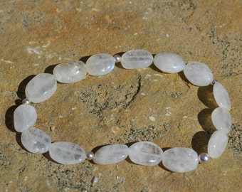 Rainbow Moonstone and Sterling Silver Stretch Bracelet