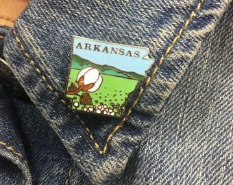 Vintage Arkansas enamel lapel pin (stock# T11) travel pin, state, hat pin, enamel pin, pinback, cotton, AR