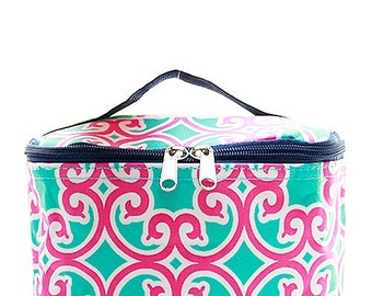Monogrammed Aqua and Pink Geometric Cosmetic Bag- Personalized Gift-Monogram Cosmetic Bag-Personalized Makeup Bag-Embroidered Cosmetic Bag