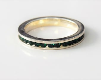 Vintage: Sterling Silver Synthetic Emerald Eternity Ring, size 5.5
