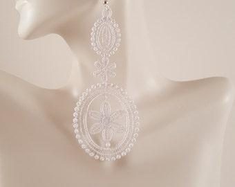 White lace earrings Lace jewelry Bridal earrings Statement earrings Womens Fashion Lace earrings Long earrings Drop earrings Dangle earrings