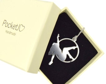 Aerial circus - aerialist - aerial hoop pose metal pendant - Stainless Steel - Man in the moon