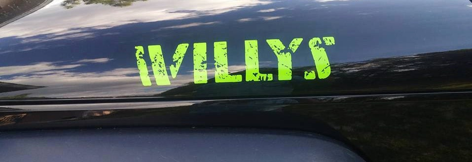 Willys Jeep Hood Vinyl Decal Sticker Distressed/Pair of Decals