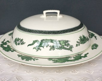 Vintage Booths Green Dragon China Lidded Serving Dish c.1930s