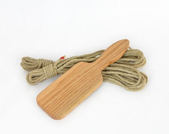Rope and Paddle Kit with (2) 4mm Hemp Ropes and (1) Boudoir Red Oak Spanking Paddle and FREE Domestic Shipping