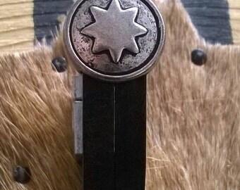Lederarmband Stern schwarz/silber