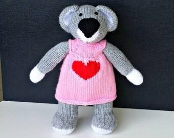 Katy Koala, knitted koala, knitted toy, koala toy, koala softie, koala plushie, koala gift, gift for girl, dressed koala, dressed softie