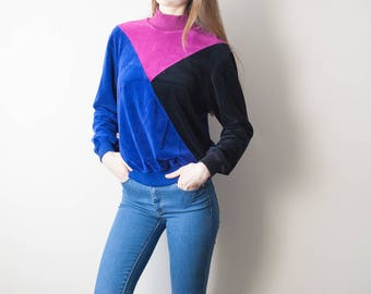 80s Color Block Velour Velvet Turtleneck Sweater