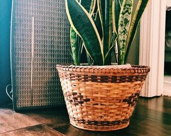 Vintage Woven Rattan Plant Basket / Plant Holder
