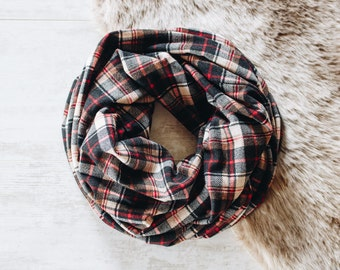 Plaid Scarf / Mens Scarf / Womens Scarves / Plaid Infinity Scarf / Cowl Scarf / Brown Scarf / Gift for Men / Husband Gift // Brown Red
