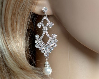 Crystal Rhinestone & Pearl Chandelier Bridal Earrings (Pearl-726)