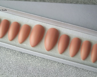 Nude stiletto nails, Acrylic Nails, Nail art, Nails, Matte nails, False nails, Pointy nails, Fake nails, press on nails, Glue on Nails