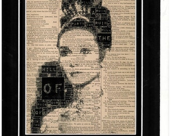 Typography art of Audrey Hepburn from 'My fair lady' printed on vintage dictionary paper
