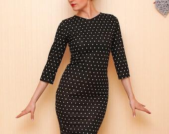 Little black dress, polka dot dress, sheath dress, mini dress, 2\3 sleeve, warm dress, jersey dress, office dress, casual dress