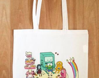 Tote bag with bmo, adventure time, mareline, jake the dog, tree trunks, tea party, cartoon, bubblegum, plushie