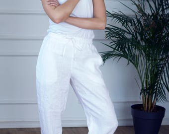 Drawstring linen pants with pockets, linen pants for women, white linen trousers