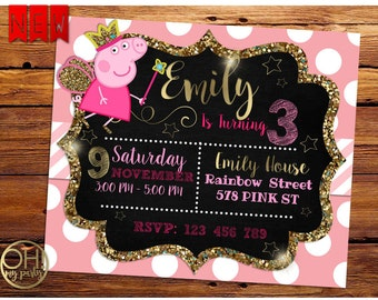 Peppa pig invitation, invitation peppa pig, fairy peppa pig, peppa pig party, peppa birthday, birthday peppa pig, peppa pig, peppa party