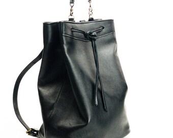 Black Leather Backpack / Handmade Backpack / Women Backpack / School Backpack / Soft Leather backpack