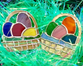 Stained Glass Easter Egg Basket Suncatcher By Sparkle Stained Glass, For Easter, Spring Decor