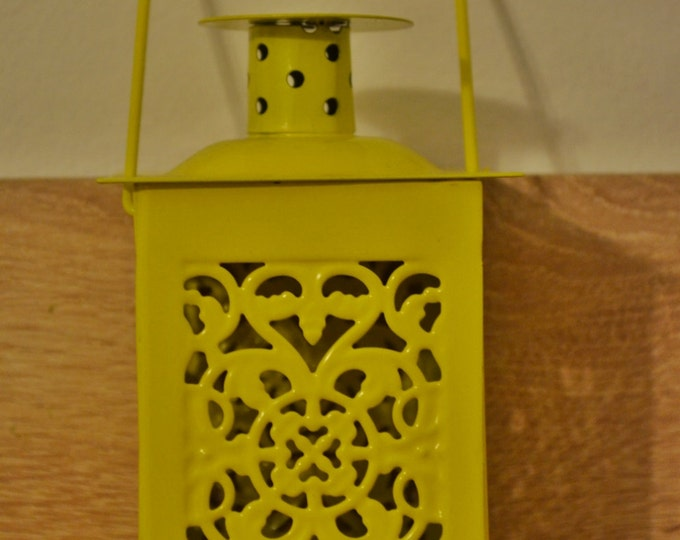 10%OFF Small vintage yellow Moroccan metallic lantern/ lanterns