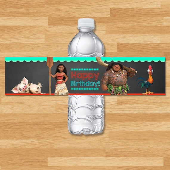 Moana Drink Label - Chalkboard - Moana Water Bottle Wrap - Disney Princess Water - Moana Printable Party Favors - Moana Birthday Party