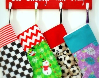 The Stockings Were Hung, Red and White Christmas Stocking Holder, Wall Mounted, Handmade in USA