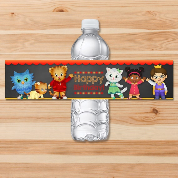 Daniel Tiger Birthday Drink Labels - Red Chalkboard - Boy Daniel Tiger Water Bottle Labels - Daniel Tiger Birthday Party - Daniel Tiger