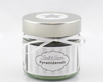 Pyramidensalz schwarz 100g, Gourmet-Salz, Fleur de Sel, Fingersalz, Salz, ideal als Geschenk zum Grillen Kochen für Sie und Ihn
