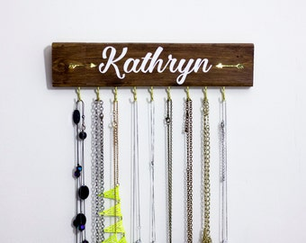 Wall Necklace Holder, Necklace Hanger, Wood Necklace Hanger, Jewelry Rack, Custom Wood Sign, Custom Name Sign, Jewelry Organizer, Modern