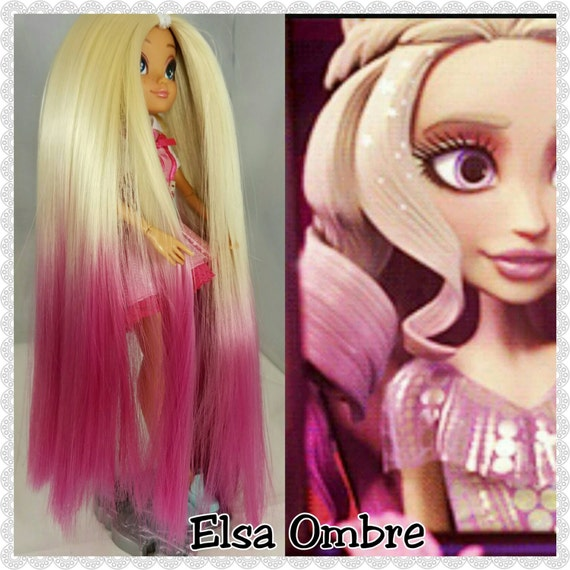 XL 2oz Welcome to Monster High Tash Ombre Elsa to Magenta Hand-Dyed Nylon Doll Hair for Monster High or Ever After High Doll