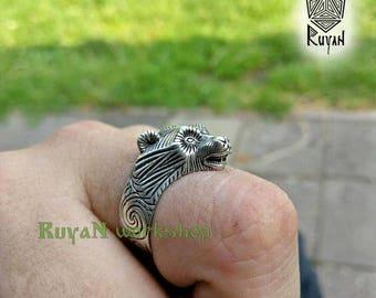 Bear ring. Viking bronze jewerly. Bears head ring. Viking ring