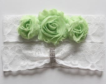 Wedding Garter with Lime Green Flowers, Lime Green Wedding Garter, Lime Green Wedding Garter Set, Lime Green Wedding Garter Set